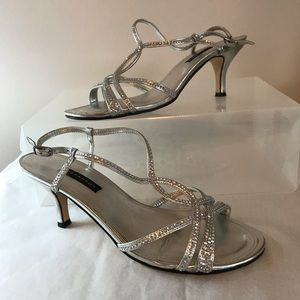 Silver Strappy Dress Heel with rhinestones